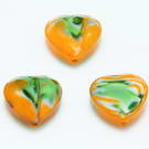 Hand painted heart glass beads